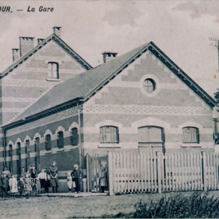 1920 oude postkaart Station Racour